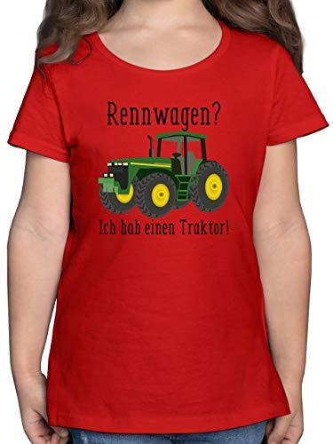 Fahrzeuge Kind - Rennwagen? Traktor! - 104 (3/4 Jahre) - Rot - Kinder Shirt Rennwagen - F131K - Mädchen Kinder T-Shirt