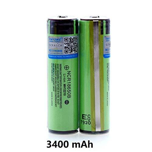2-teiliger Knopf Oben Original geschützter 18650 18650B Wiederaufladbarer Li-Ionen-Akku 3,7 V 3400 mAh Für Taschenlampenbatterien
