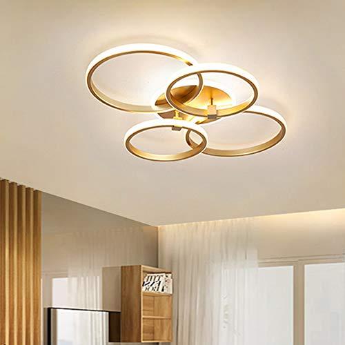 Lanekd LED Deko Schlafzimmer Deckenleuchte Esszimmerlampe Wohnzimmer Deckenlampe Gold Round Ring Design Jugendzimmer-Leuchte Modern Dimmbar Kronleuchter Küchen Esstisch Pendelleuchte Bürolamp 4 Ringe