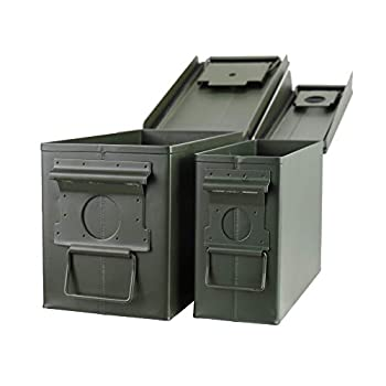 Steel Metal Ammo Case Can Set 30 and 50 Caliber 2pcs for Military Army Solid Holder Box for Long-Term Shotgun Rifle Nerf Gun Ammo Storage with Flip Top