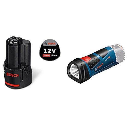 Bosch Professional 12V System Akku GBA 12V 2.0Ah (im Karton) & 12V System Akku LED Taschenlampe GLI 12V-80 (80 Lumen, ohne Akkus und Ladegerät, im Karton)