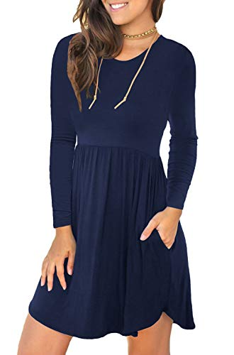 Unbranded* Women's Long Sleeve Loose Plain Dresses Casual Short Dress with Pockets Navy Blue Large
