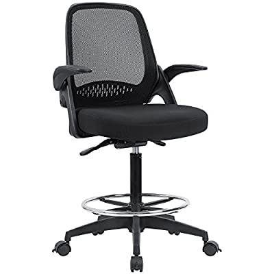 Devoko Drafting Chair with Flip-up Armrests Tall Office Chair Executive Computer Standing Desk Chair with Lockable Wheels and Adjustable Footrest Ring