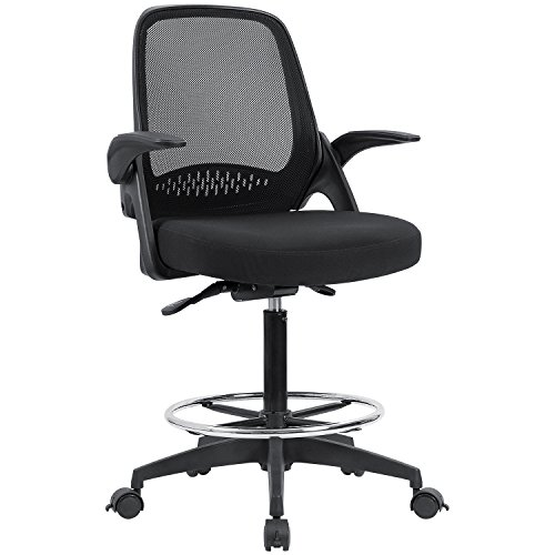 Devoko Drafting Chair Tall Office Chair with Flip-up Armrests Executive Computer Standing Desk Chair with Lockable Wheels and Adjustable Footrest Ring (Black)