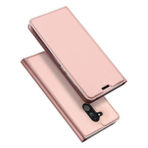 DUX DUCIS Huawei Mate 20 Lite Hülle, Leder Flip Handyhülle Schutzhülle Tasche Case mit [Kartenfach] [Standfunktion] [Magnetverschluss] für Huawei Mate 20 Lite (Rose Golden)
