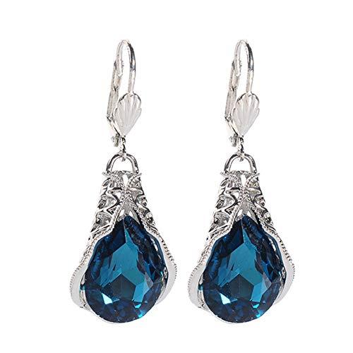 RIsxffp Damen-Ohrringe, modisch, Teardrop Faux Sapphire Dangle Leverback Earrings Jewelry Geschenk blau