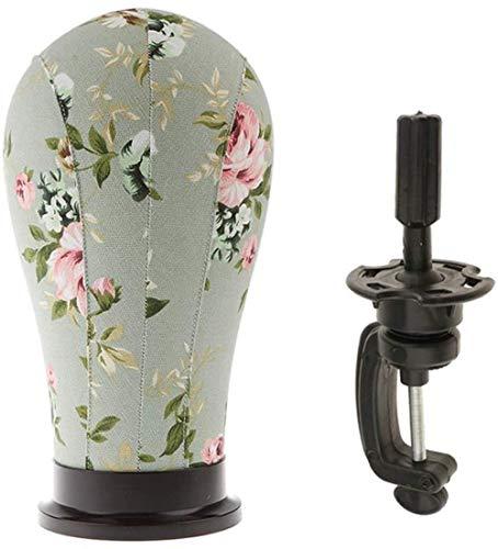 Mannequins de couture reglable Toile Bloc liège Perruque tête for Perruque Mannequin Faire écran séchage Styling avec Table C Support à Pince (21 Pouces) Porte vêtement Mannequin