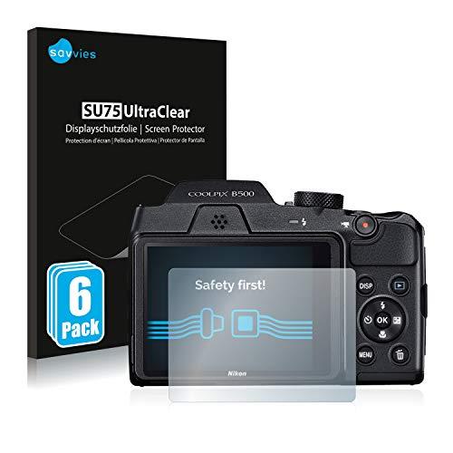 Savvies 6X Schutzfolie kompatibel mit Nikon Coolpix B500 Displayschutz-Folie Ultra-transparent