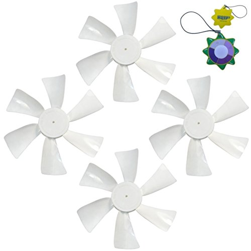 """HQRP 4-Pack 6"""" Fan Blades CCW 1/8"""" D-Bore Replacement for 12V RV Roof Vents/Range Hoods plus HQRP Sun Meter"""