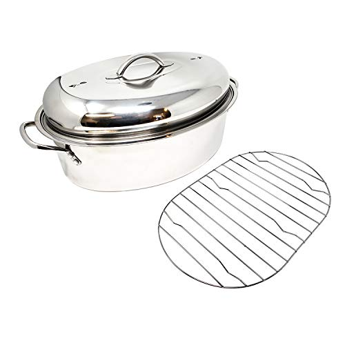 Stainless Steel Oval Lidded Roaster Pan Extra Large & Lightweight | With Induction Lid & Wire Rack |...