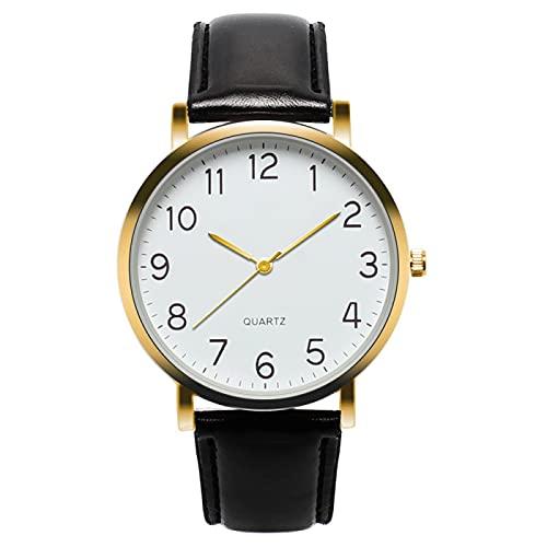 Relojes Reloj De Pulsera De Cuarzo De Cuero De Moda De Negocios Simple Unisex Relojes Minimalistas De Moda Ultrafinos para Hombre Regalo De Moda Creativo Negro