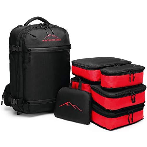 Wayfarers Lane Carrier - 55 L Carry On Cabin Handgepäck Reise-Rucksack mit Falt-Rucksack, passendem 5-teiligem Packing Cube Set und Powerbank Fach - geeignet als Handgepäck im Flugzeug
