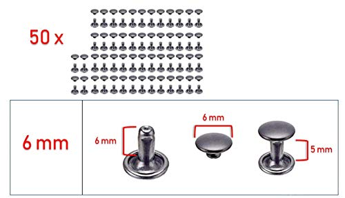My Belt - 50 Stück Hohlnieten für Leder, Ledernieten 6mm Gunmetal, Doppelkappe Nieten, Gürtelnieten Kappe Schwarz