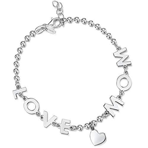 Amberta Pulsera en Plata de Ley 925 - Brazalete de Bola 3 mm para Mujer con Frase Mamá Te Amo/Love Mom y Símbolo de Corazón - Longitud Ajustable de 18 a 20 cm