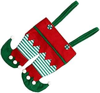 BESTOYARD - Calcetines de Navidad con forma de disfraz de lutin, bolsa de caramelos, bolsa de regalo de Navidad, embalaje para botella, decoración de árbol de Navidad, colgante