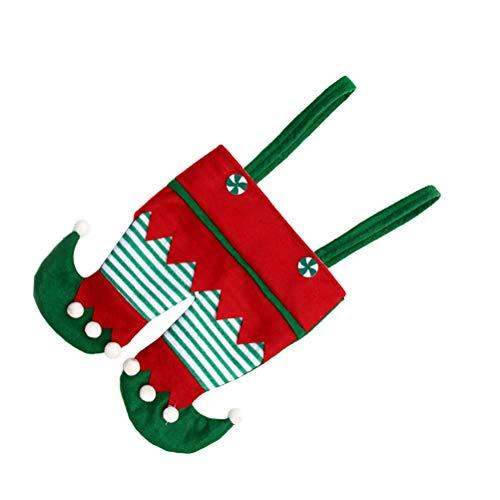 BESTOYARD - Calcetines de Navidad con forma de disfraz de lutin, bolsa de caramelos, bolsa de regalo de Navidad, embalaje para botella, decoracin de rbol de Navidad, colgante