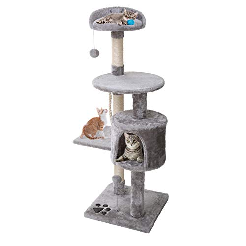 Petonaut Cat Tree Cat Tower Scratching Posts for Cats kitten Grey Fuiniture Cat Tree Scratcher Activity Centre With Sisal Scratching Posts Hammock Perches Platform and Dangling Ball
