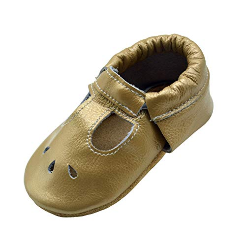 iEvolve Baby Mädchen Jungen Elefant Babyschuhe Baby Weiche Sohle Lederschuhe Baby Lauflernschuhe Krabbelschuhe(Hell Gold Sandale,6-12 Monate)