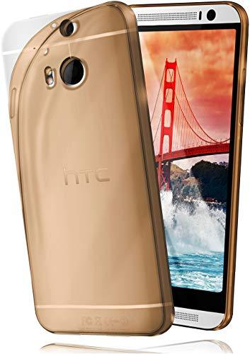 moex Aero Hülle für HTC One M8 / M8s - Hülle aus Silikon, komplett transparent, Handy Schutzhülle Ultra dünn, Handyhülle durchsichtig - Gold