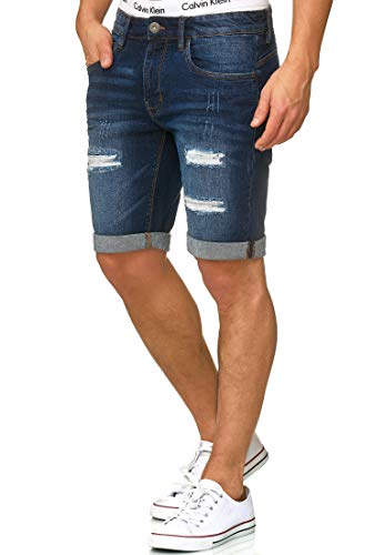 Indicode Herren Caden Jeans Shorts mit 5 Taschen aus 98% Baumwolle | Kurze Denim Stretch Hose Used Look Washed Destroyed Regular Fit Men Short Pants Freizeithose f. Männer Holes - Dark Blue XXL