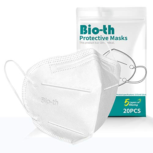 Face Masks Reusable 20 Pack 5Ply Cup Dust Face Mask for Women Men with Nose Wire