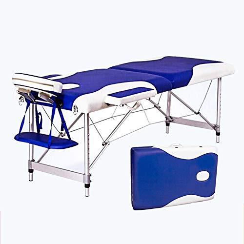 YZT QUEEN massagestoel, wit plus blauw kleur 6 cm sponsvulling draagbare 500 kg aluminiumlegering frame klaptafel in hoogte verstelbaar, geschikt voor schoonheid, tatoeage enz.