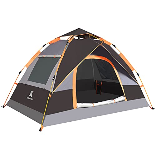 Extremus Mission Mountain Camping Tent, Family Tents for Camping, Waterproof, Quick Set-Up, 2 Person Tent, Gray/Black, 1 Door