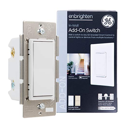 GE Enbrighten Add-On Switch for GE Z-Wave/GE Zigbee Smart Lighting Controls, Works with Alexa, Google Assistant, NOT A STANDALONE SWITCH, White & Light Almond, 12723