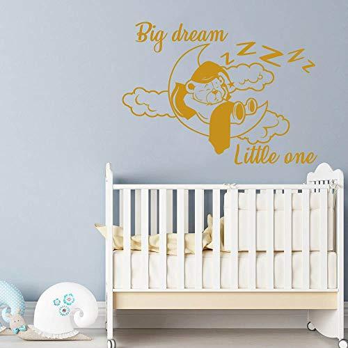 NL178 Sticker mural en vinyle avec citation en allemand « Traum Big Little One » et « Lune et ours » pour chambre d'enfant ou garçon