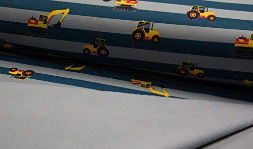 Qualitativ hochwertiger Softshell Stoff mit gelben Baggern auf Petrol/Grau als Meterware zum Nähen von Kinder- und Babybekleidung, 50 cm