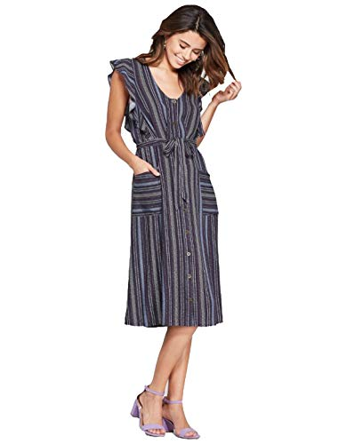 Xhilaration Women's Striped Flutter Short Sleeve Button Front Midi Dress - Navy - XXLarge