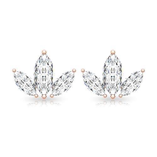 Pendientes de diamante triple marquesa HI-SI, claridad de color, cartílago de la corona, caracola tragus, certificado IGI, hojas de diamante 10K Oro rosa, Par