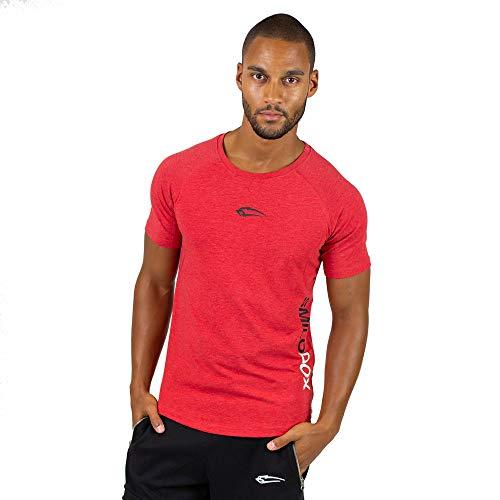 SMILODOX Slim Fit T-Shirt Herren | Kurzarm Funktionsshirt für Sport Fitness Gym & Training | Trainingsshirt - Laufshirt - Rundhals Sportshirt mit Aufdruck, Farbe:Rot, Größe:M