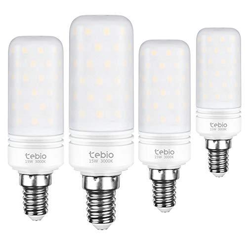 Tebio LED Argento Mais lampadine E14 15W Small Edison Screw Equivalente a 120W 1500LM Non Dimmerabile 3000K Bianca Calda Lampadine a candela(4 pezzi)