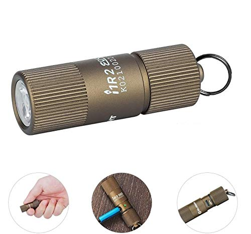 Olight i1R 2 EOS Desert Tan 150 Lumens Tiny Rechargeable Keychain Flashlight EDC Mini LED Keyring Light with Built-in Battery for Camping Hiking Dog Walking etc