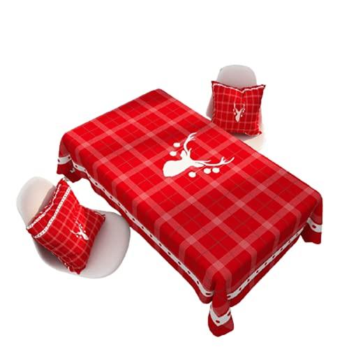 Mantel Verde Patrón Geométrico Navidad Decoración De Fiesta En Casa Mantel Rectangular Antiincrustante Mantel Rojo Cocina Mantel Impermeable Restaurante Mesa De Café Mantel 85x85cm