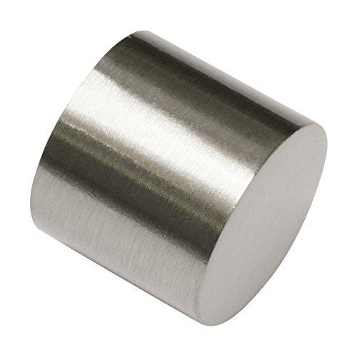 GARDINIA Endkappen für Gardinenstangen, 2 Stück, Serie Chicago, Durchmesser 20 mm, Metall, Edelstahl-Optik