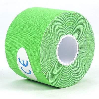 Mdsfe 2 Größe 5M Länge Elastic Sport Tape Kinesiologie Tape Athletic Strapping Gym Tennis Fitness Laufen Knie Muskelschmerzen Pflege - Hellgrün, 5 cm (1,97 Zoll) 1 Rolle
