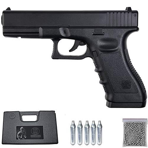Ecommur MK1 Stinger G17 | Pistola de balines (perdigones: Bolas bb s de Acero) y Aire comprimido (CO2) semiautomática Tipo Glock 17 Calibre 4,5mm con maletin y consumibles