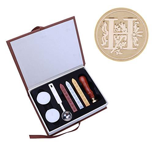 Matefielduk Wachsstempel-Set Alter des englischen Alphabets Metallstempel Kerzen Set : Siegel + Siegelwachs Stäbchen + Teelichter + Löffel + Geschenkbox H