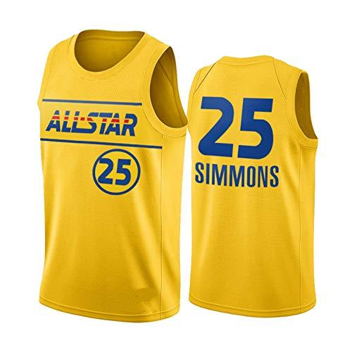 LXZ Simmons 76ers # 25 Jersey de Baloncesto, Camisa de Baloncesto Deportivo para Hombres 2021 Juego de Estrellas All-Star New Malla Transpirable Secado rápido Fans Balon M