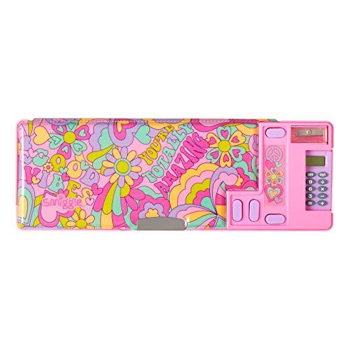 Smiggle Good Vibes, astuccio portamatite scolastico estraibile, per ragazzi e ragazze con calcolatrice e temperamatite | Stampa di graffiti