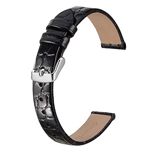 BISONSTRAP Correas de Cuero para Reloj, Correas de Repuesto Suaves con Hebilla Pulida, 12mm, Negro con Hebilla Plateada