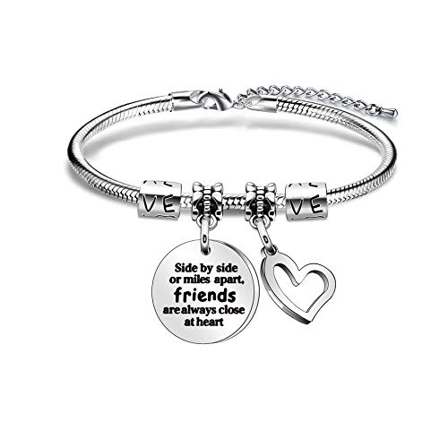 AGR8T Best Friend Bangle Bracelets For Women Girls Love Heart Birthday Anniversary Graduation Day Stainless Steel