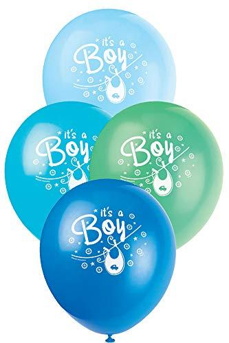 Unique Party - Globos de Baby Shower de Látex - 30 cm - Diseño de Tendedero Azul - Paquete de 8 (42516)