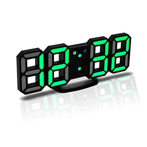CENTOLLA Reloj Despertador Digital 3D LED, Reloj de Pared, Reloj Digital, Temporizador, Reloj Despertador LED 3D con 3 Niveles de Brillo, Luz Nocturna Regulable, Función de Despertador para la Cocina