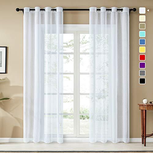 Topfinel Voile Vorhänge Leinenstruktur mit Ösen Durchsichtig Einfarbig für Fenster Wohnzimmer Schlafzimmer Moderne und Elegante Gardine 2er Set je 260x140cm (HxB) Weiß