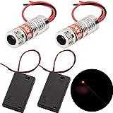 CTRICALVER 2pcs láseres circulares con módulo láser enfocable de 650 nm, enfoque láser circular, láser ajustable circular rojo 3-5V, con lente de plástico + 2pcs AA soportes de batería