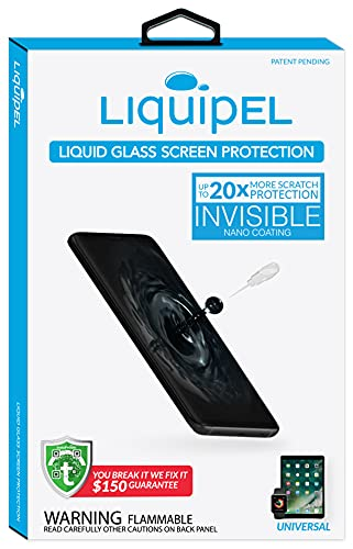 Liquipel Liquid Glass Screen Protector for Smartphones- 150 Dollar Protection Plan Included - Nano Liquid Phone Screen Protector for Cell Phones and Handsets - Increased Impact and Scratch Protection