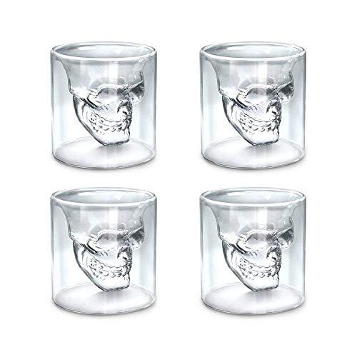 DQM Schedel Glazen Set, Glasmok Kristal Drinkset, Crystal Clear, Geschikt voor Geurende Thee, Bier, Wodka, Liquor, Whiskey, Cocktails Etc